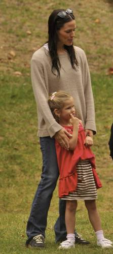 Jen took violet and Seraphina to play soccer!