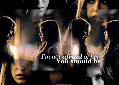 Katherine Pierce and Elena Gilbert wallpaper probably containing a show, concerto and a portrait titled Katherine and Elena