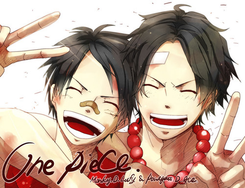 One Piece karatasi la kupamba ukuta called Luffy & Ace