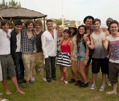 Simon Cowell with the groups