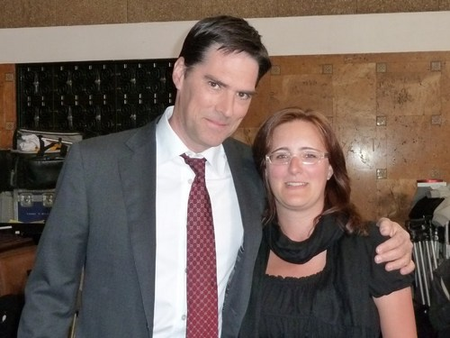 Thomas Gibson wallpaper containing a business suit and a suit called Thomas on the CM set