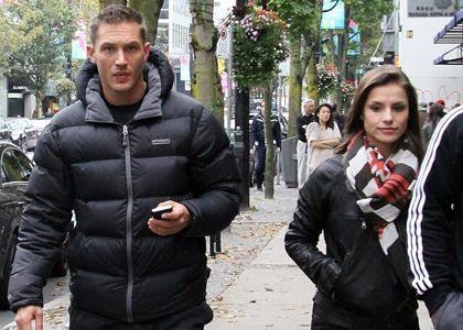 Tom Hardy wallpaper possibly with a business suit and a street entitled Tom & Charlotte in Vancouver off set 'This Means War'