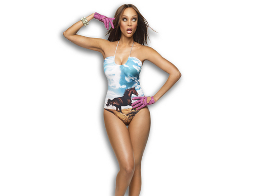 Tyra Banks kertas dinding with a maillot and a baju renang entitled Tyra Rides In Style
