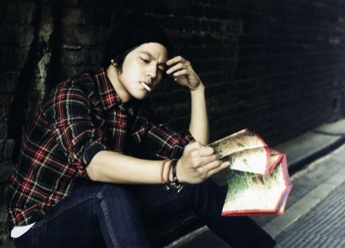 Kim Bum smoking a cigarette (or weed)