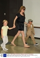 Angelina and childrens in Airport TOKIO
