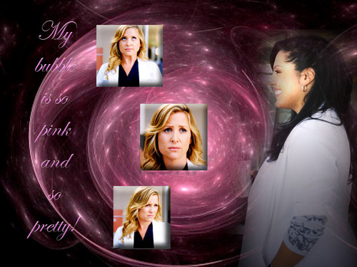 Grey's Anatomy wallpaper titled Calzona-pink bubble