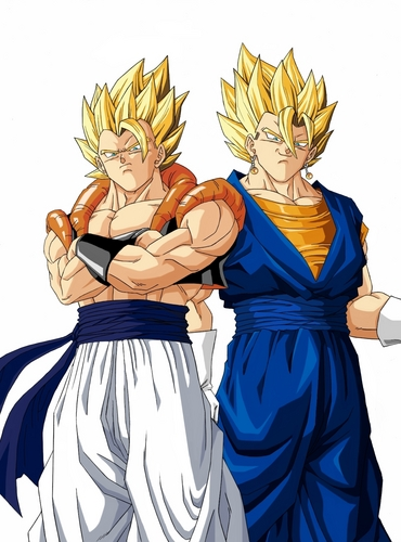 Gogeta and Super Vegito looking straight at آپ