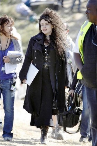 Helena Bonham Carter on the set of the Deathly Hallows