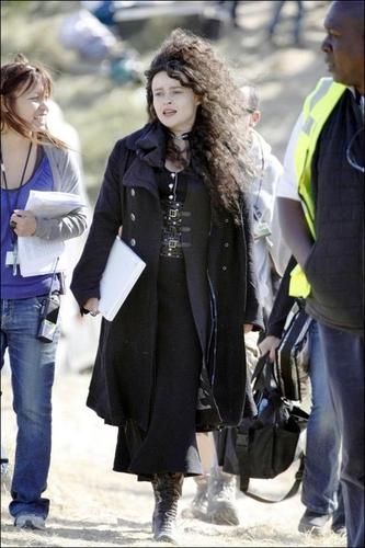 Helena Bonham Carter on the set of the Deathly Hallows