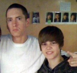 Eminem's Fan Phone Number http://www.fanpop.com/clubs/justin-bieber/images/16170766/title/jb-eminem-photo