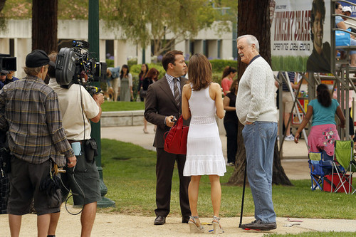 John Cleese Films a Scene for 'Entourage'