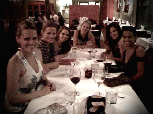 Joy, Sophia, Jana and Shantel at dinner