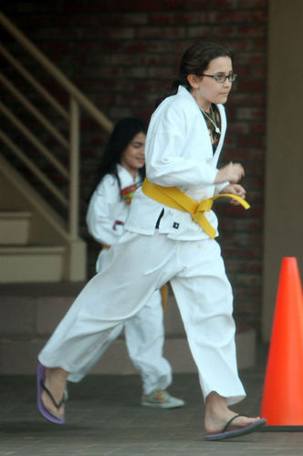 Paris has a new moon tee under her karate uniform!