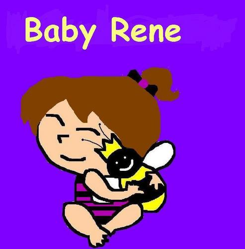Rene As A Baby With Her Teddy (Stripes)
