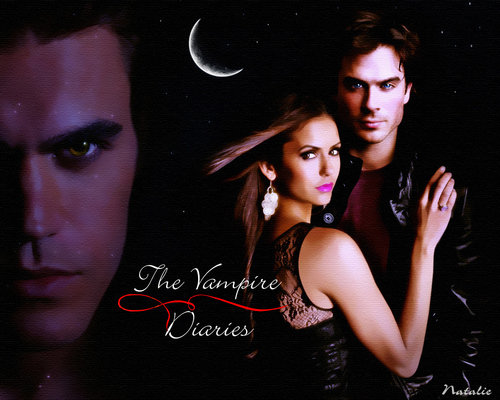 Stefan/Elena/Damon - the-vampire-diaries Wallpaper