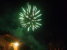green fireworks...