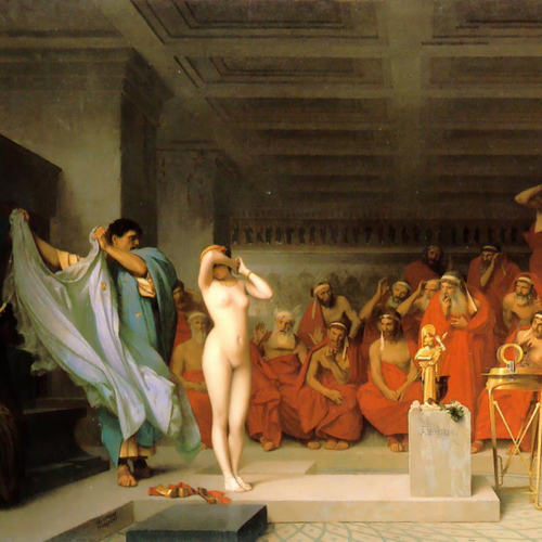 Fine Art wallpaper probably with a bridesmaid titled Gérôme - Phryne before the Areopagus