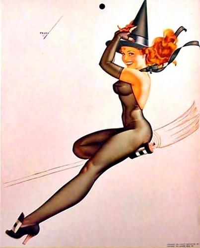 pin up girl wallpaper possibly with a bikini, a swimsuit, and attractiveness titled Happy halloween