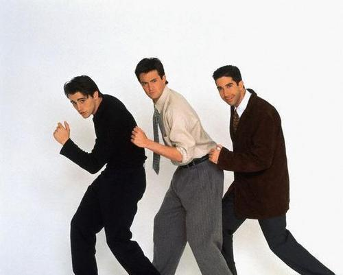 Joey Chandler and Ross wallpaper with a business suit, a suit, and a well dressed person entitled Joey Tribbiani, Chandler Bing, and Ross Geller