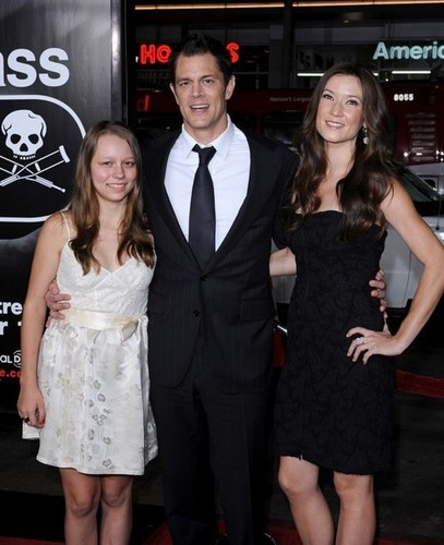 Johnny Knoxville, with Madison Knoxville & Naomi Nelson @ the LA Premiere of 'Jackass 3D'