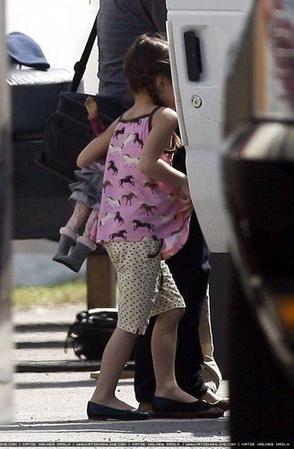 Katie and Suri on Set in Beverly Hills
