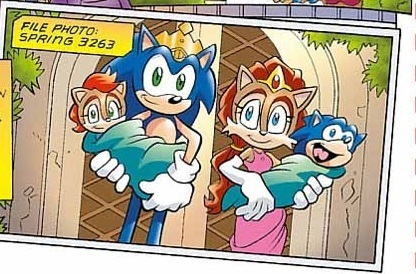 King Sonic and Queen Sally holding Princess Sonia and Prince Manik