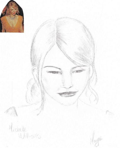 Michelle Williams Pencil Sketch with Reference foto