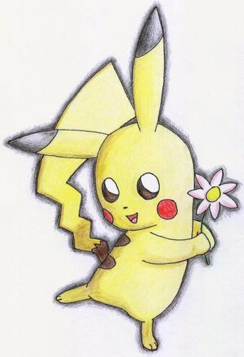 Pikachu with a bloem