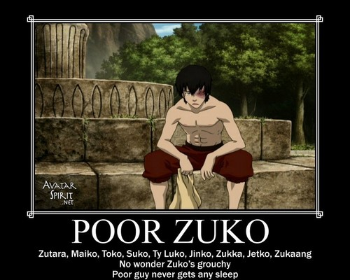 アバター 伝説の少年アン 壁紙 possibly containing a sign and a portrait called Poor Zuko Motivational