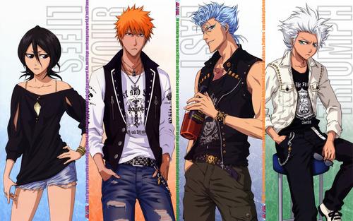 Rukia, Ichigo, Grimmjow, Toshiro