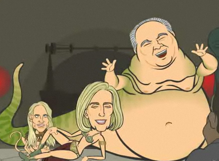 Rush and Ann as Jabba the Hutt and Leia