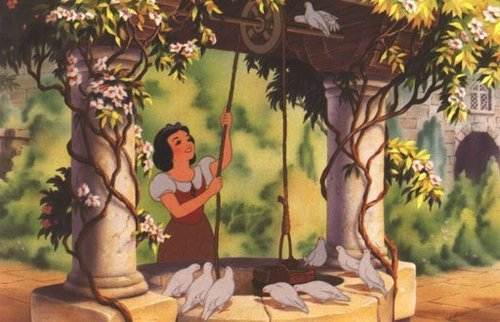 Snow White and the Seven Dwarfs achtergrond possibly with a bonsai and a royal palm entitled Snow White and the Seven Dwarfs