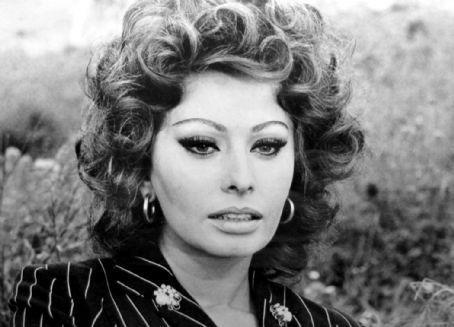 Sophia Loren Hintergrund probably with a grainfield and a portrait titled Sophia Loren