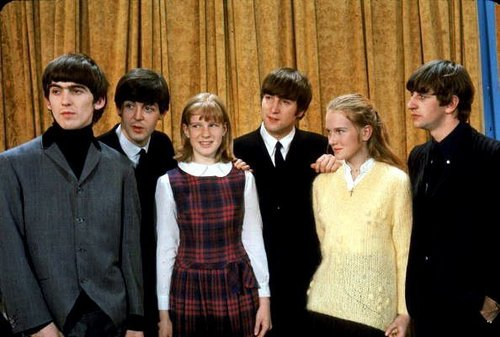 The Beatles with Walter Cronkite's daughters