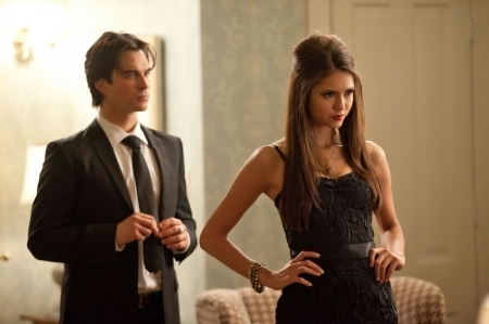 Katherine Pierce wallpaper containing a business suit entitled The Vampire Diaries 2x07 Damon & Katherine
