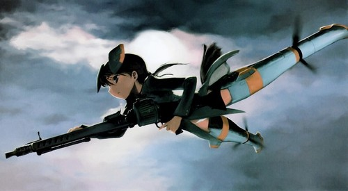 Strike Witches achtergrond possibly with a helicopter entitled Witches