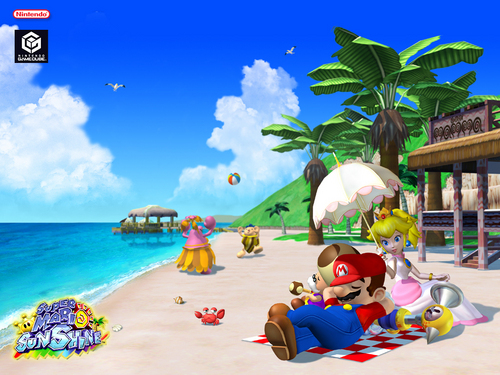 Super Mario Sunshine wolpeyper containing a tabing-dagat and an oceanfront entitled Yoshi