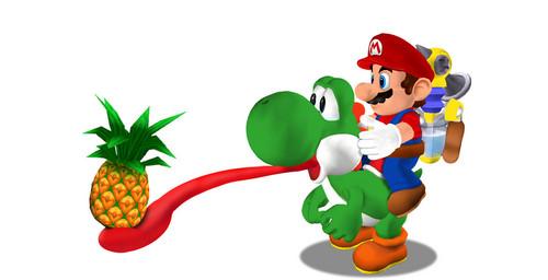 Super Mario Sunshine karatasi la kupamba ukuta called Yoshi