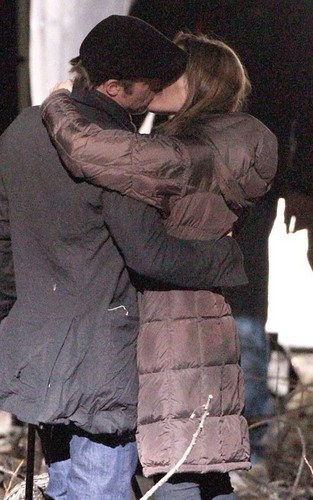 Angelina & Brad on set in Budapest