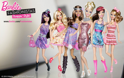 Barbie فلمیں پیپر وال possibly containing a کاک, کاکٹیل dress and a chemise entitled Barbie Fashionistas پیپر وال All Fashionistas
