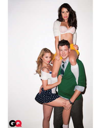 Glee wallpaper probably containing bare legs, hosiery, and hot pants entitled Dianna, Lea , and Cory - GQ Magazine