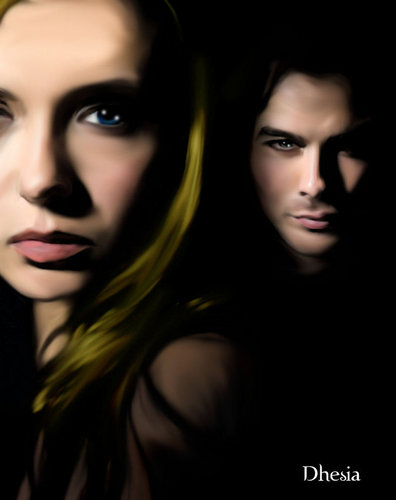 Vampire Diaries Books wallpaper possibly with a portrait titled Elena&Damon