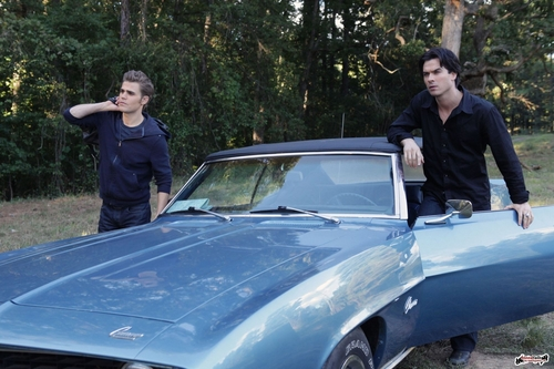 Stefan & Elena wallpaper probably with a convertible and a roadster titled Episode 2.08 - Rose - Promotional Photos (HQ)