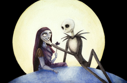 Nightmare Before Christmas wallpaper containing a campaign hat, a boater, and a fedora entitled Jack and Sally