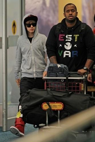 Justin Bieber Arrives in Vancouver
