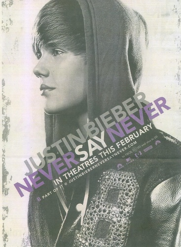 "Justin Bieber's new movie ""Never Say Never poster"