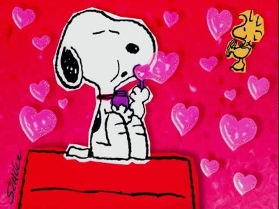 snoopy Blowing corazón Shaped Bubbles