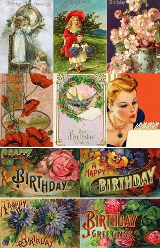 Vintage Birthday Girls Cards - vintage Fan Art