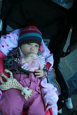 baby Renesmee in her stroller