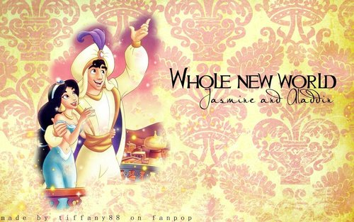 Aladdin wallpaper probably containing anime titled Aladdin and Jasmine